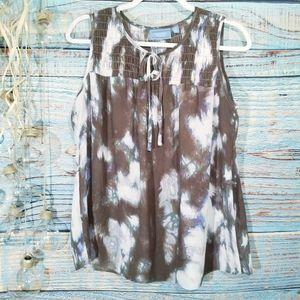 Simply Vera Sleeveless Sheer Tie Dye Brow Top Sz M